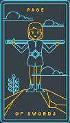 Page of Swords Tarot card in Golden Thread Tarot Tarot deck
