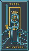 Queen of Swords Tarot card in Golden Thread Tarot deck