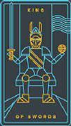 King of Swords Tarot card in Golden Thread Tarot deck