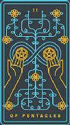 Two of Coins Tarot card in Golden Thread Tarot deck
