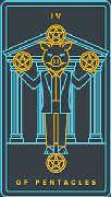 Four of Coins Tarot card in Golden Thread Tarot deck