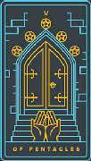 Five of Coins Tarot card in Golden Thread Tarot deck