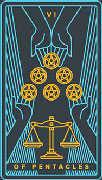 Six of Coins Tarot card in Golden Thread Tarot deck