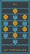 Seven of Coins Tarot card in Golden Thread Tarot deck