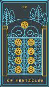 Nine of Coins Tarot card in Golden Thread Tarot deck