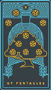 Ten of Coins Tarot card in Golden Thread Tarot deck