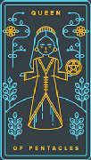 Queen of Coins Tarot card in Golden Thread Tarot deck