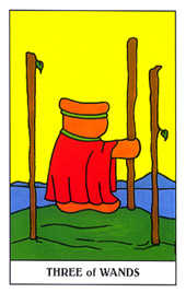 Three of Staves Tarot Card - Gummy Bear Tarot Deck