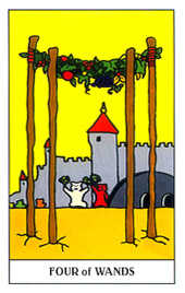 Four of Staves Tarot Card - Gummy Bear Tarot Deck