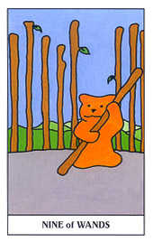 Nine of Batons Tarot Card - Gummy Bear Tarot Deck