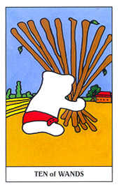 Ten of Wands Tarot Card - Gummy Bear Tarot Deck