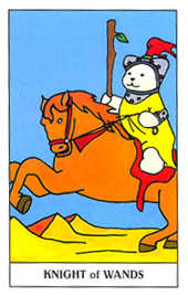 Knight of Batons Tarot Card - Gummy Bear Tarot Deck
