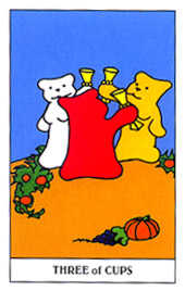 Three of Bowls Tarot Card - Gummy Bear Tarot Deck