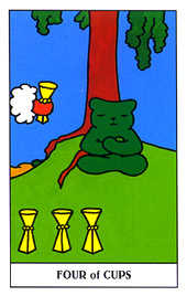 Four of Hearts Tarot Card - Gummy Bear Tarot Deck