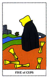 Five of Bowls Tarot Card - Gummy Bear Tarot Deck