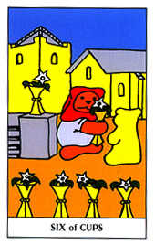 Six of Bowls Tarot Card - Gummy Bear Tarot Deck