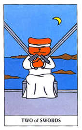Two of Arrows Tarot Card - Gummy Bear Tarot Deck