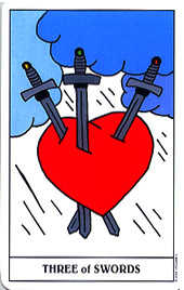 Three of Swords Tarot Card - Gummy Bear Tarot Deck
