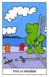 Five of Rainbows Tarot Card - Gummy Bear Tarot Deck