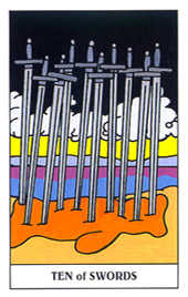 Ten of Arrows Tarot Card - Gummy Bear Tarot Deck