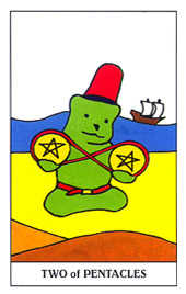 Two of Discs Tarot Card - Gummy Bear Tarot Deck