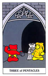 Three of Coins Tarot Card - Gummy Bear Tarot Deck