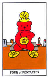 Four of Pumpkins Tarot Card - Gummy Bear Tarot Deck