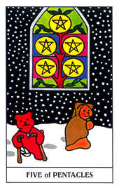 Five of Coins Tarot Card - Gummy Bear Tarot Deck