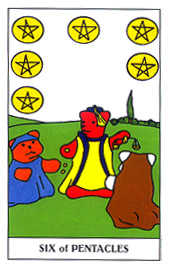 Six of Coins Tarot Card - Gummy Bear Tarot Deck