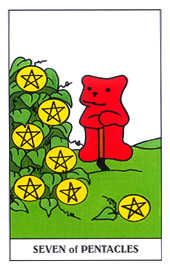 Seven of Coins Tarot Card - Gummy Bear Tarot Deck