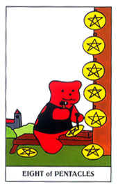 Eight of Coins Tarot Card - Gummy Bear Tarot Deck
