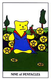 Nine of Coins Tarot Card - Gummy Bear Tarot Deck