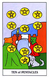Ten of Coins Tarot Card - Gummy Bear Tarot Deck