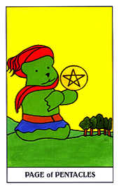 Valet of Coins Tarot Card - Gummy Bear Tarot Deck