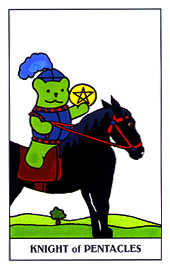 Knight of Discs Tarot Card - Gummy Bear Tarot Deck