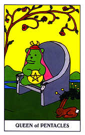 Queen of Coins Tarot Card - Gummy Bear Tarot Deck