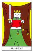 Justice Tarot card in Gummy Bear Tarot deck