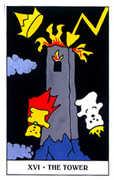 The Tower Tarot card in Gummy Bear Tarot deck