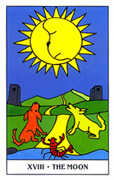 The Moon Tarot card in Gummy Bear Tarot deck