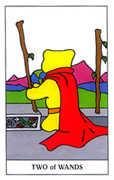 Two of Wands Tarot card in Gummy Bear Tarot deck