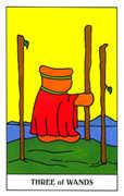 Three of Wands Tarot card in Gummy Bear Tarot deck