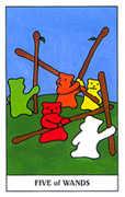 Five of Wands Tarot card in Gummy Bear Tarot deck