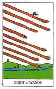 Eight of Wands Tarot card in Gummy Bear Tarot deck