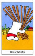 Ten of Wands Tarot card in Gummy Bear Tarot deck