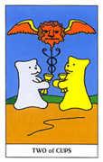 Two of Cups Tarot card in Gummy Bear Tarot deck