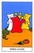 Three of Cups Tarot card in Gummy Bear Tarot deck