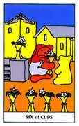 Six of Cups Tarot card in Gummy Bear Tarot deck