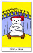 Nine of Cups Tarot card in Gummy Bear Tarot deck
