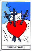 Three of Swords Tarot card in Gummy Bear Tarot deck
