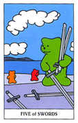 Five of Swords Tarot card in Gummy Bear Tarot deck